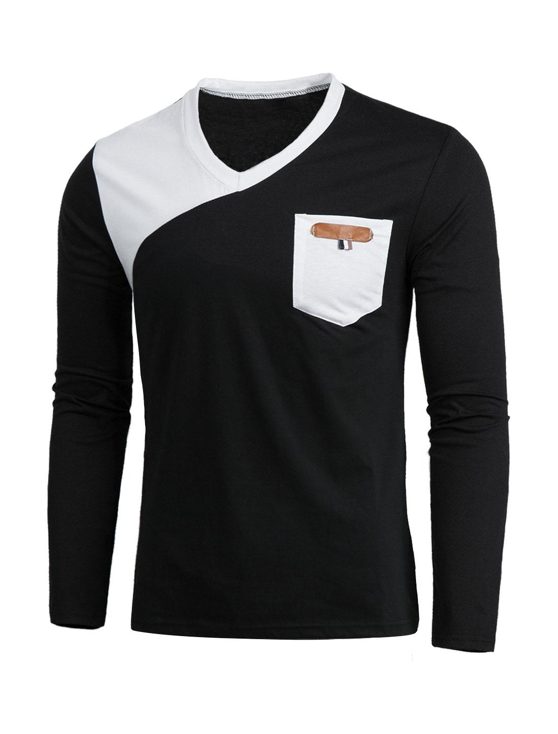 Men Casual V Neck Color Block Pocket Long Sleeves Slim Fit Tee T-Shirt Black S