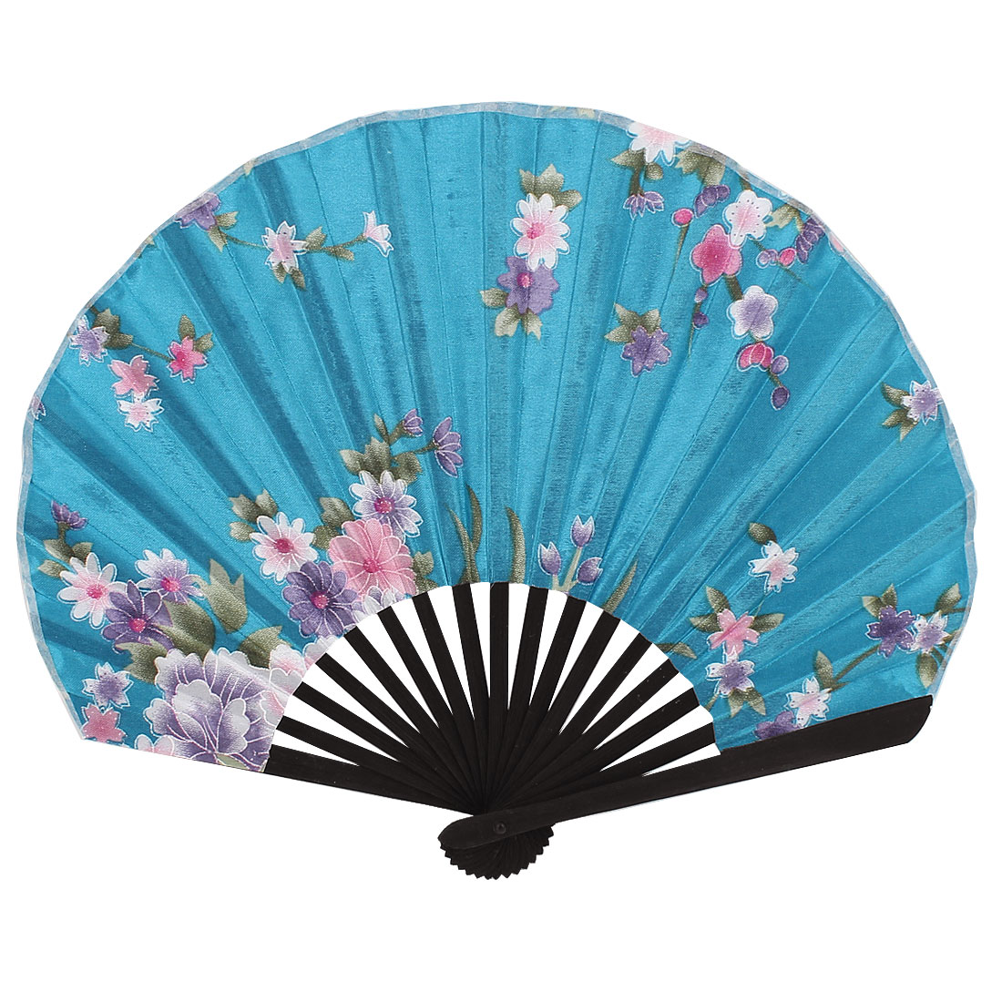 Bamboo Ribs Flower Pattern Silky Section Foldable Craft Hand Fan Teal Blue Black