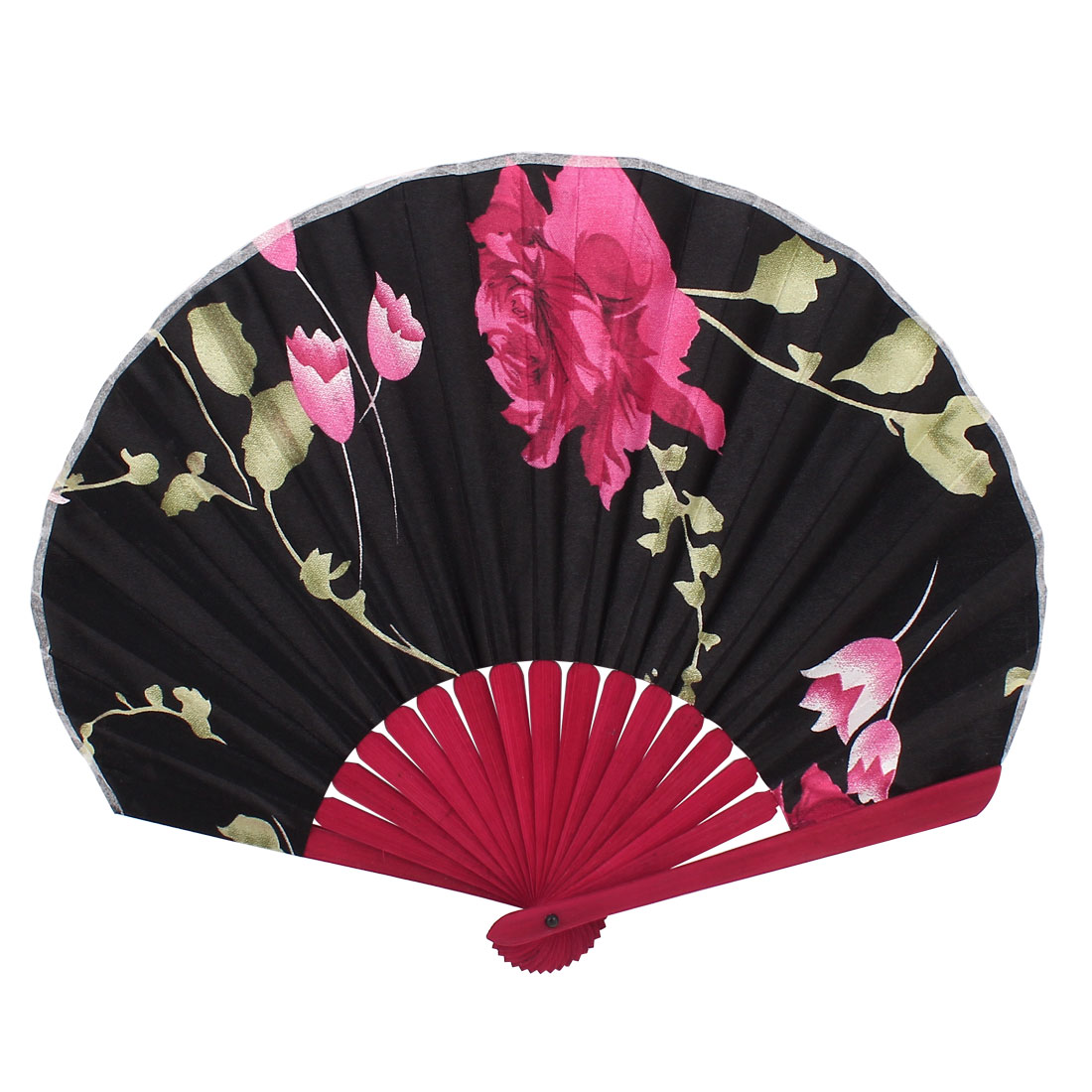 Bamboo Ribs Flower Pattern Silky Section Foldable Dance Craft Hand Fan Red Black