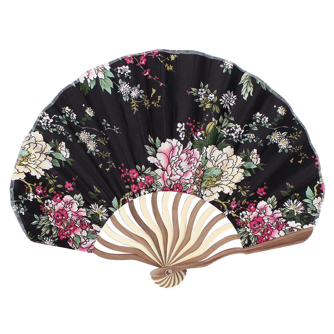 Bent Bamboo Handle Flower Print Silk Blend Section Foldable Craft Hand Fan Black