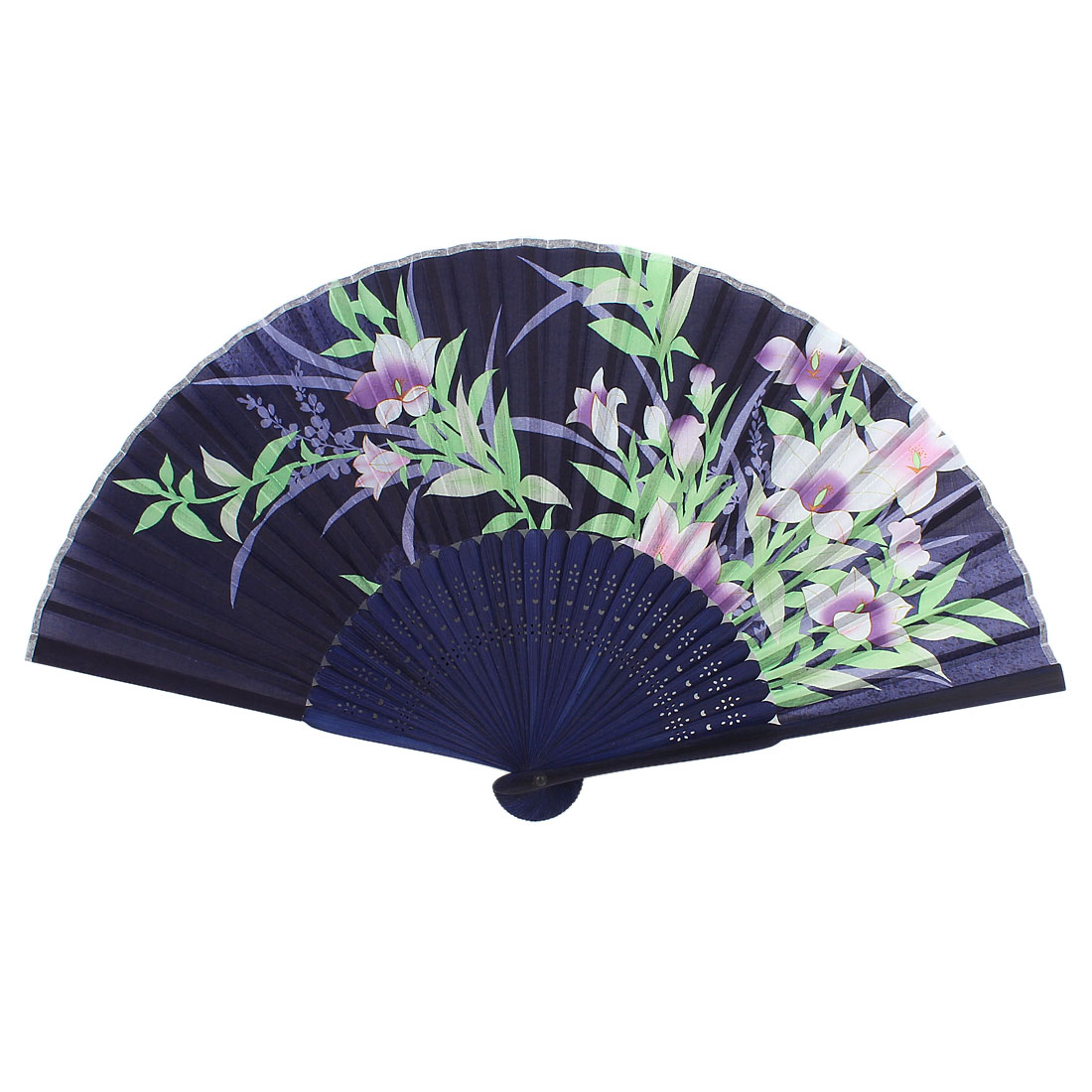 Bamboo Ribs Flowers Leaves Print Fabric Foldable Craft Hand Fan Blue Purple