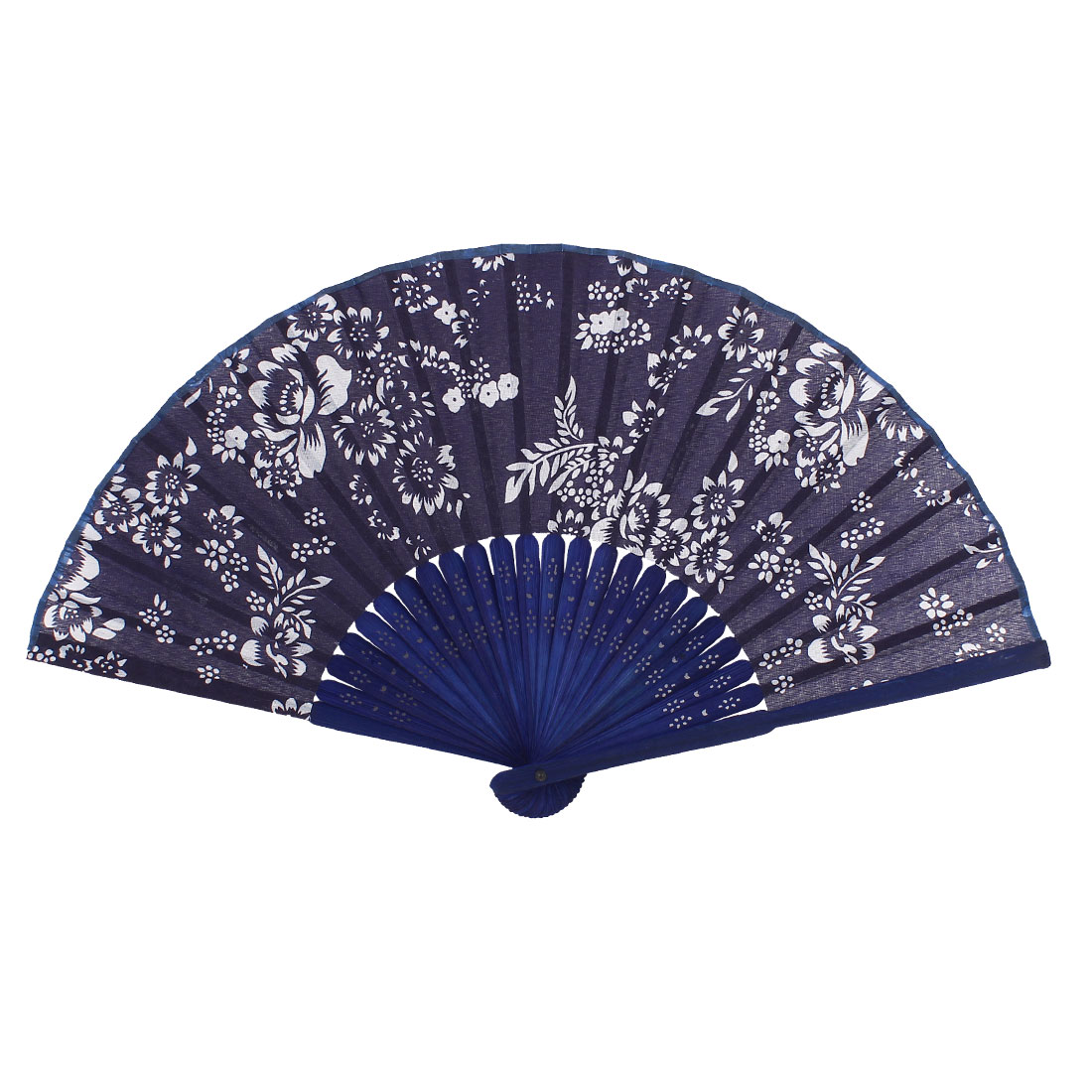Bamboo Ribs Flowers Pattern Chinese Minority Fabric Cover Foldable Hand Fan