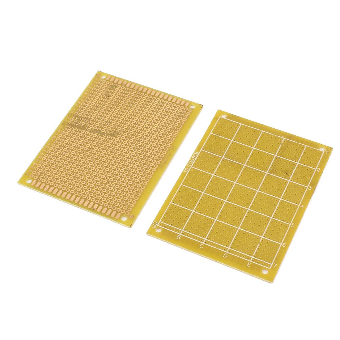 2pcs 7cm x 9cm FR4 DIY Copper Printed Universal Prototype Paper PCB Board