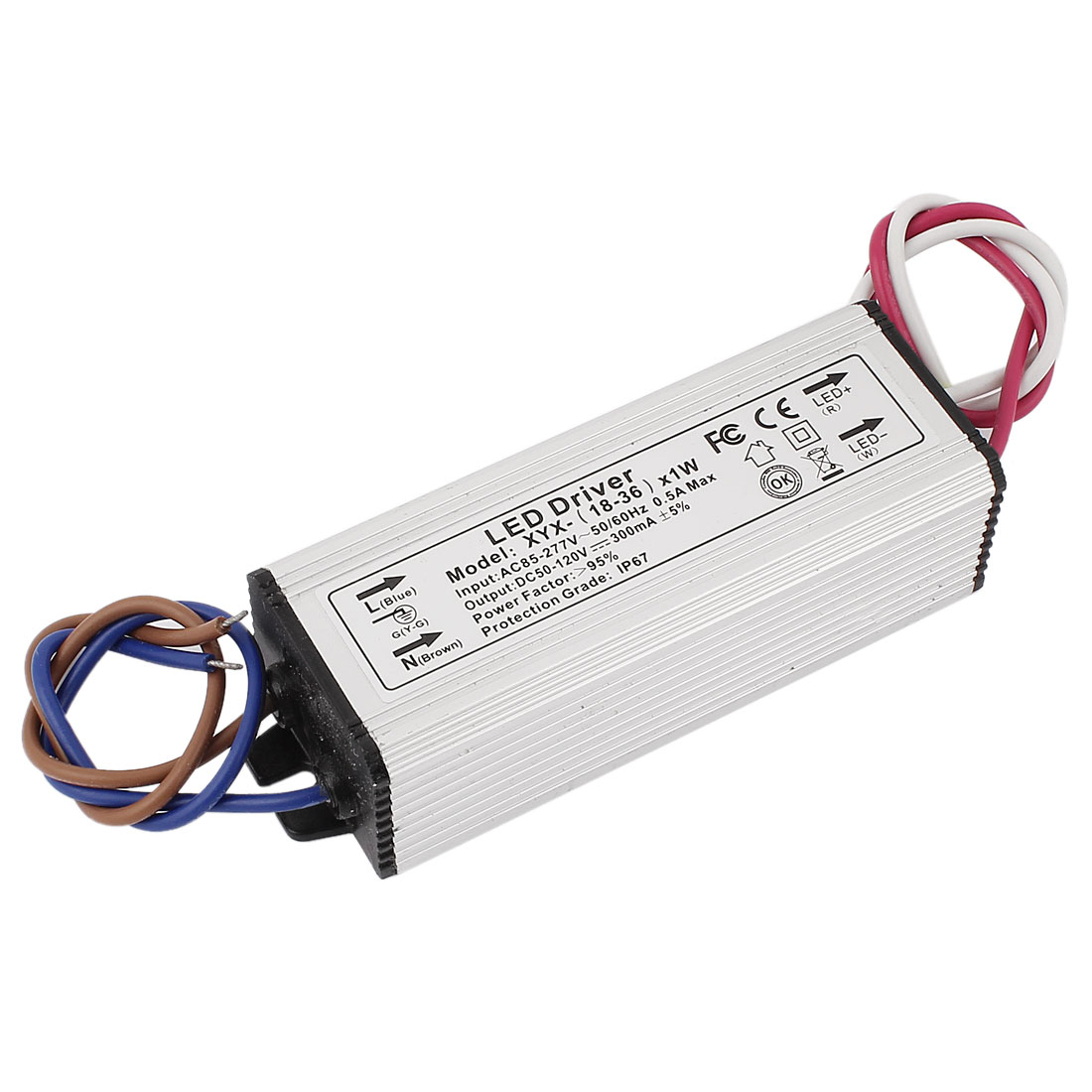 AC 85-277V to DC 50-120V Waterproof Power Supply Driver for LED Strip Light