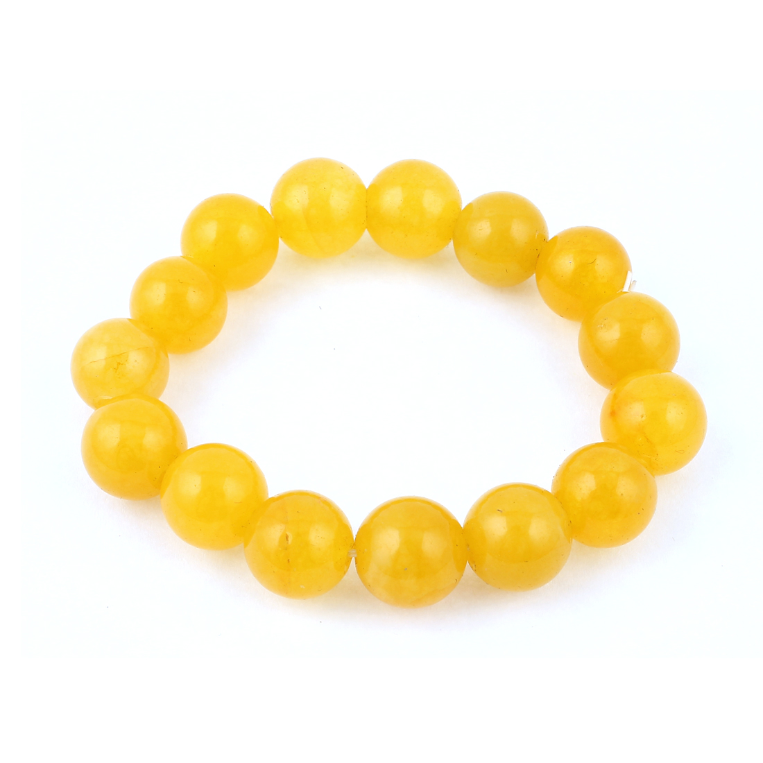 Lady Round Faux Jade Decor Elastic Wrist Stretchy Bangle Bracelet Yellow