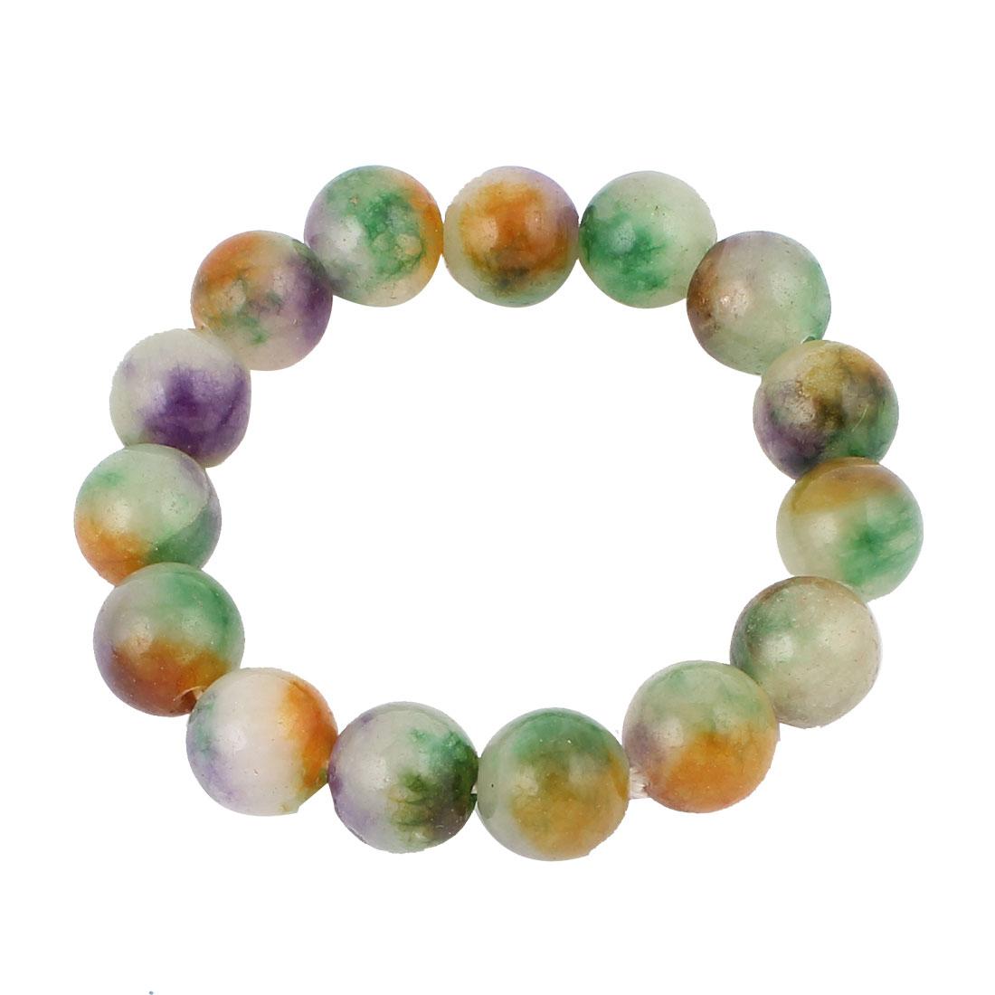 Women Jewelry Faux Jade Decor Elastic Wrist Stretchy Bangle Bracelet Colorful