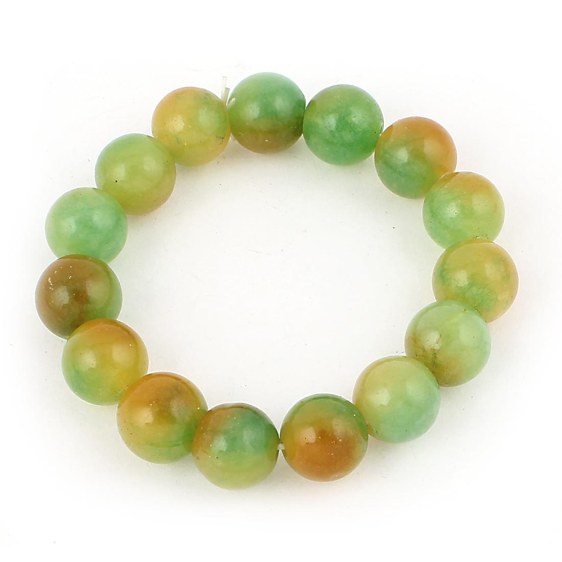 Lady Jewelry Faux Jade Decor Elastic Wrist Stretchy Bangle Bracelet