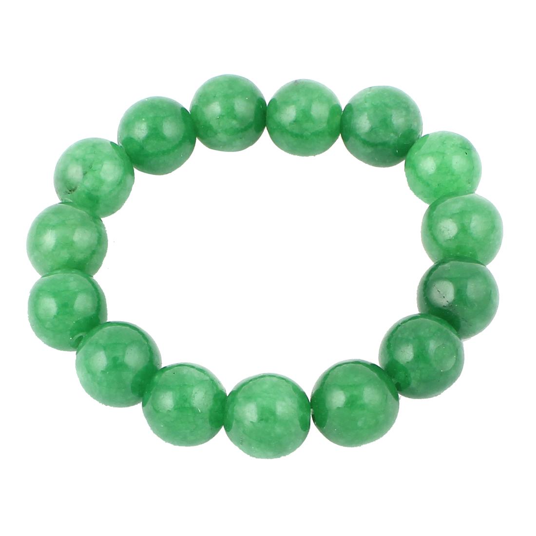 Lady Round Faux Jade Decor Elastic Wrist Stretchy Bangle Bracelet Green