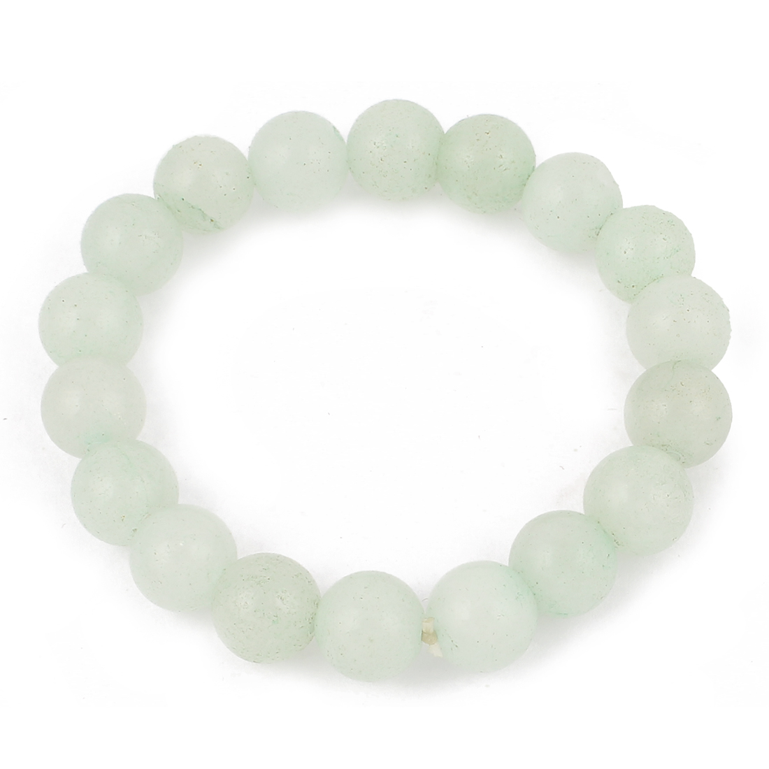 Lady Women Faux Jade Beads Decor Elastic Wrist Bangle Bracelet Pale Green