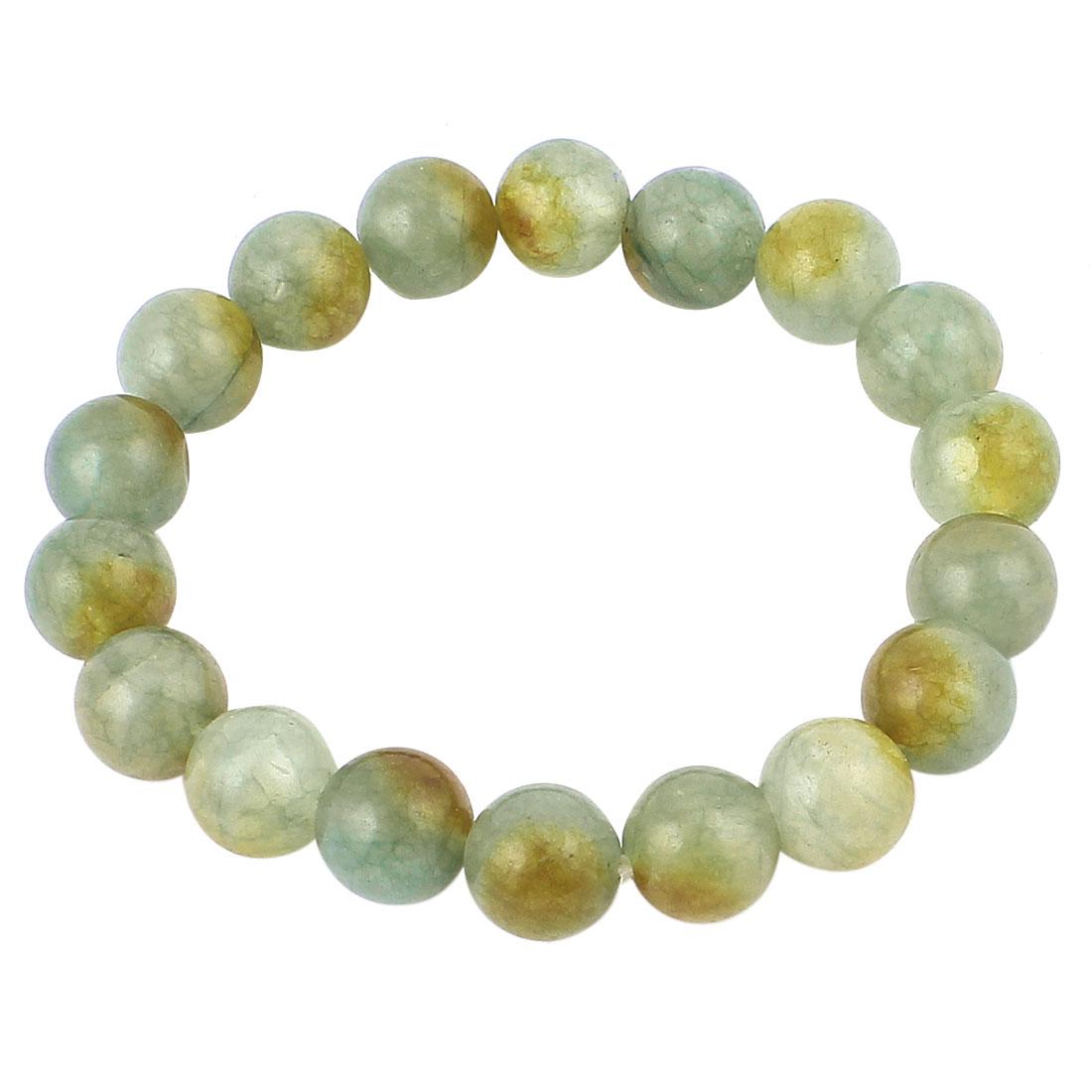 Lady Jewelry Faux Jade Beads Decor Elastic Wrist Bangle Bracelet Pale Green