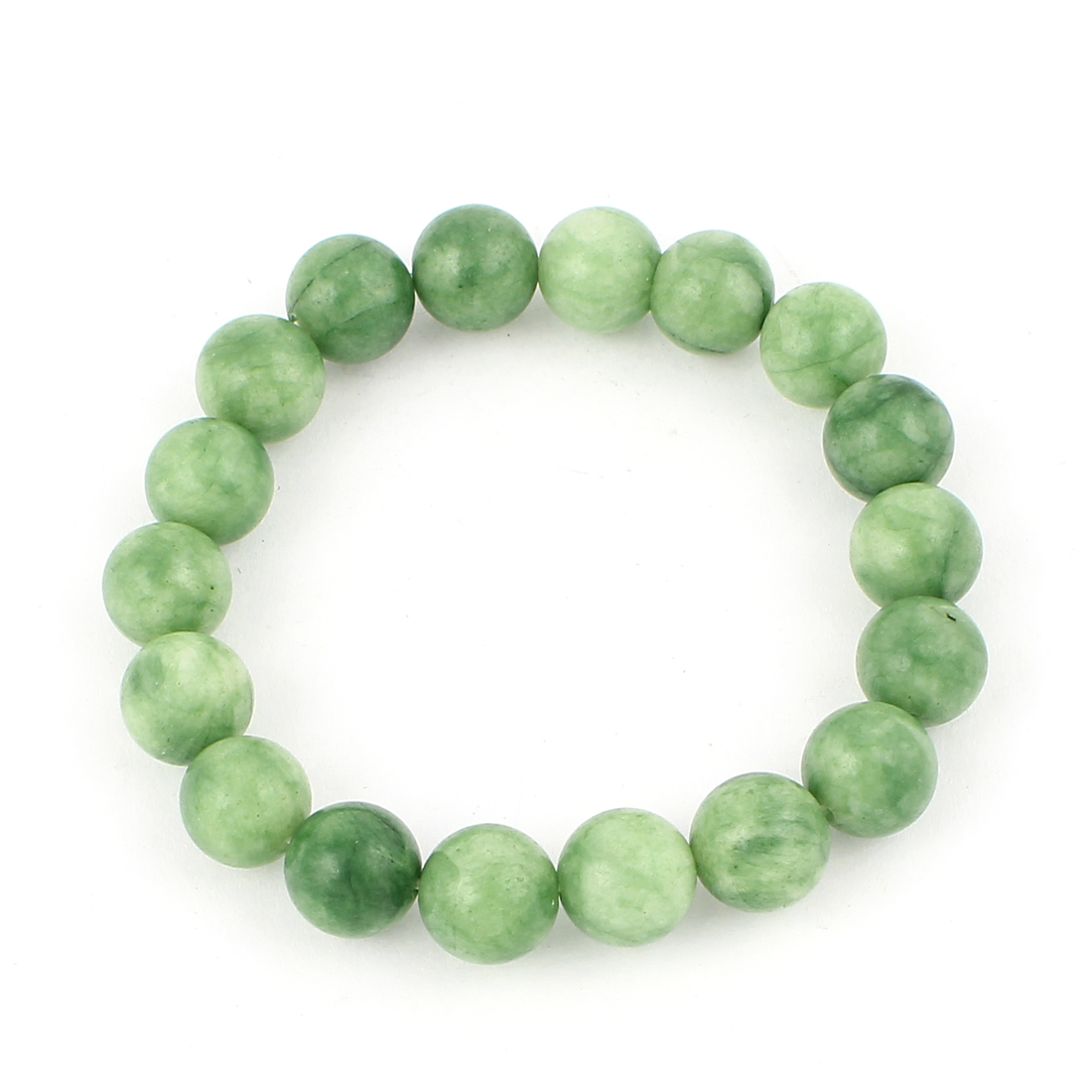 Lady Jewelry Round Faux Jade Beads Decor Elastic Wrist Bangle Bracelet Green