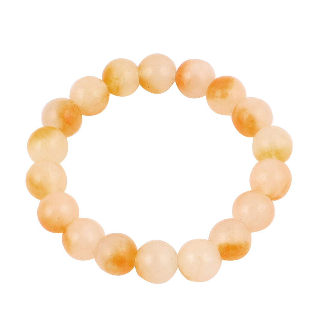 Lady Jewelry Round Faux Jade Beads Decor Elastic Wrist Bangle Bracelet Yellow