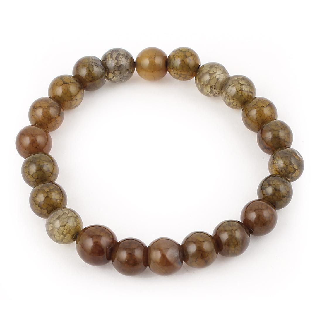 Lady Jewelry Round Faux Jade Beads Decor Elastic Wrist Bangle Bracelet Brown