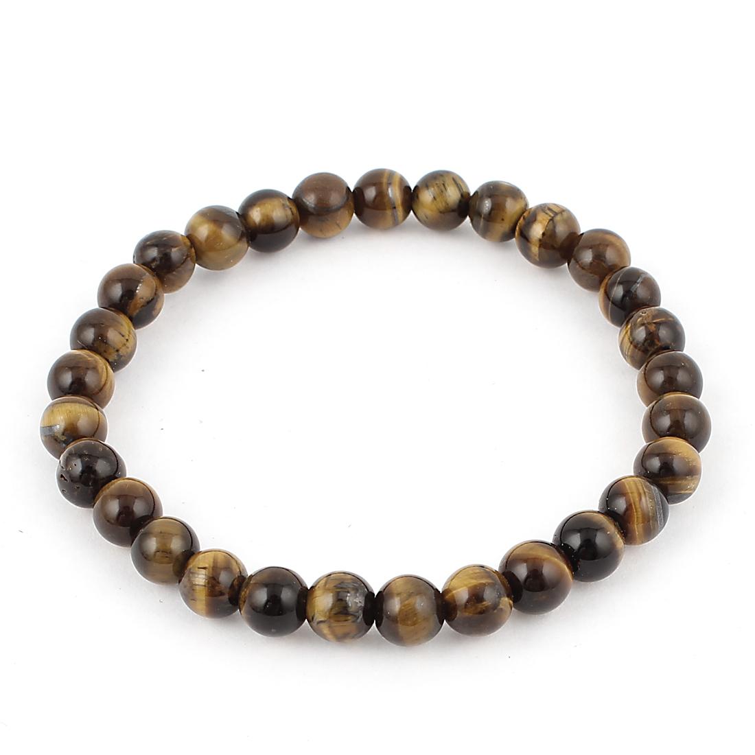 Lady Women Round Faux Jade Beads Decor Elastic Wrist Bangle Bracelet Black Yellow
