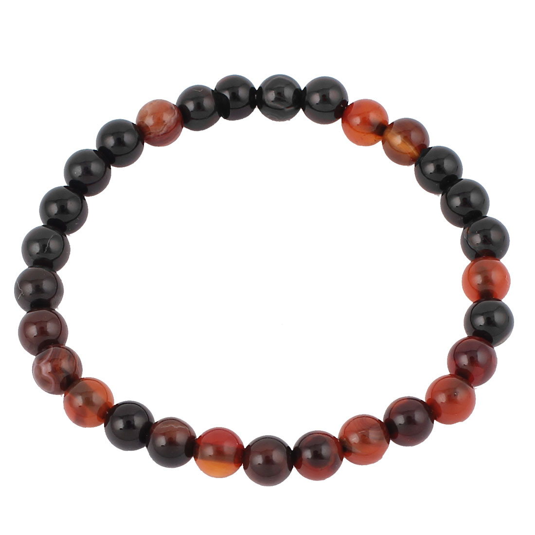 Women Jewelry Faux Jade Beads Elastic Wrist Bangle Bracelet Decor Black Brown