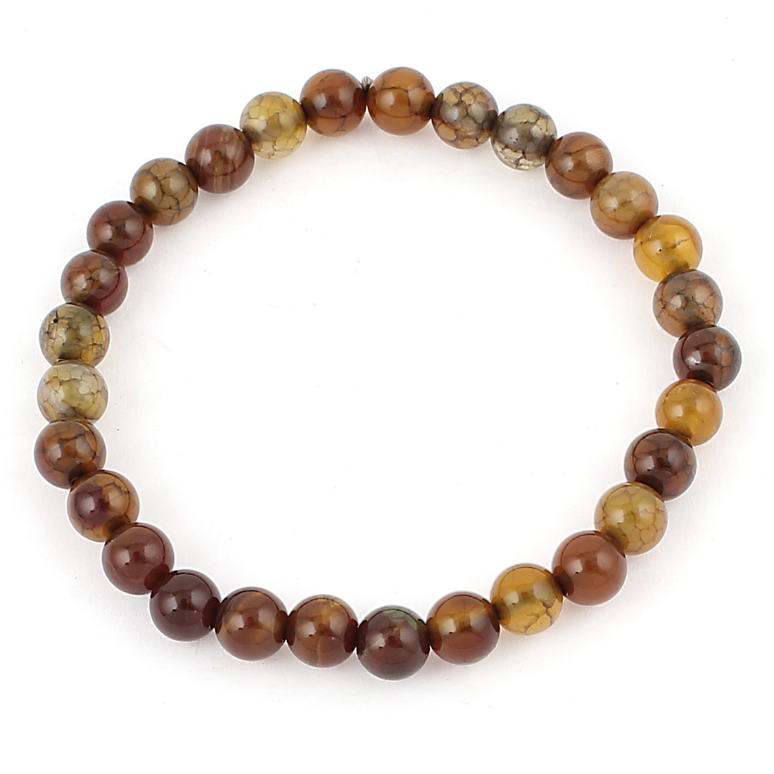 Woman Jewelry Faux Jade Beads Decor Elastic Wrist Bangle Bracelet Brown Yellow