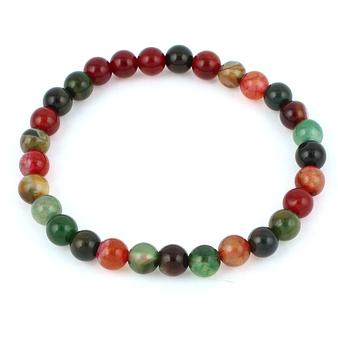 Lady Jewelry Faux Jade Beads Decor Elastic Wrist Bangle Bracelet Multicolor