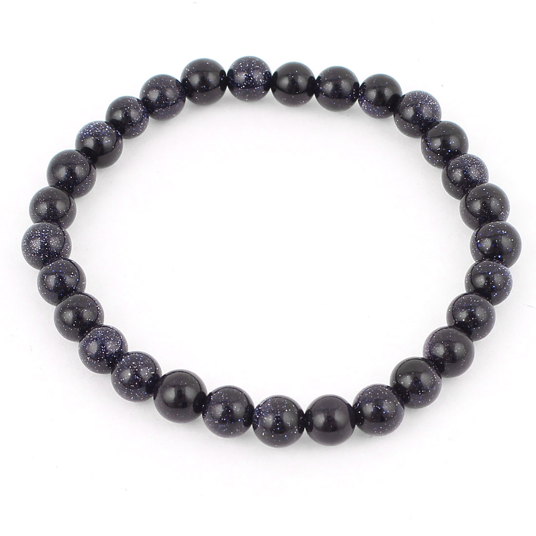 Woman Jewelry Round Faux Jade Beads Decor Elastic Wrist Bangle Bracelet Dark Blue