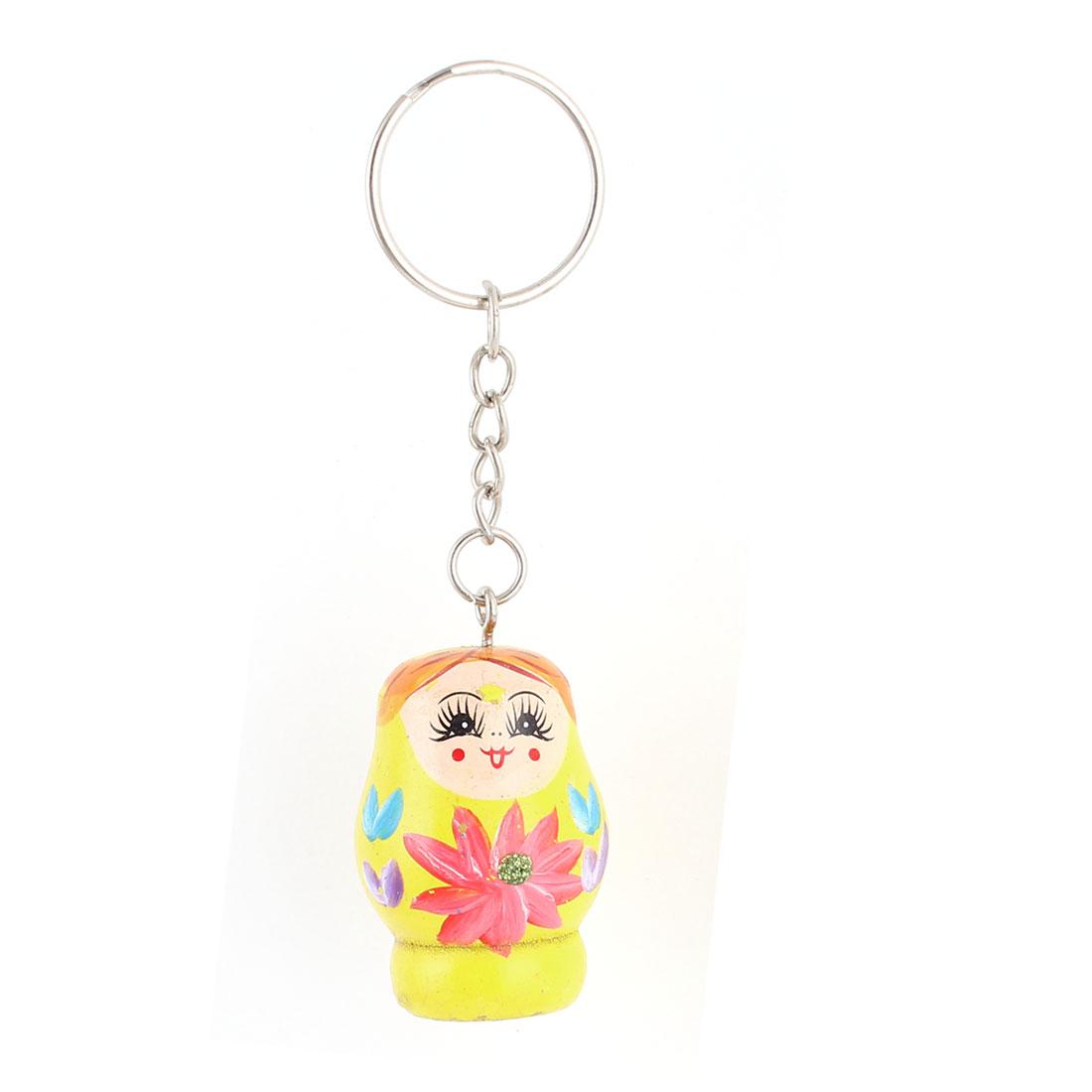 Wooden Matryoshka Style Nesting Doll Key Holder Pendant Keychain Keyring Yellow