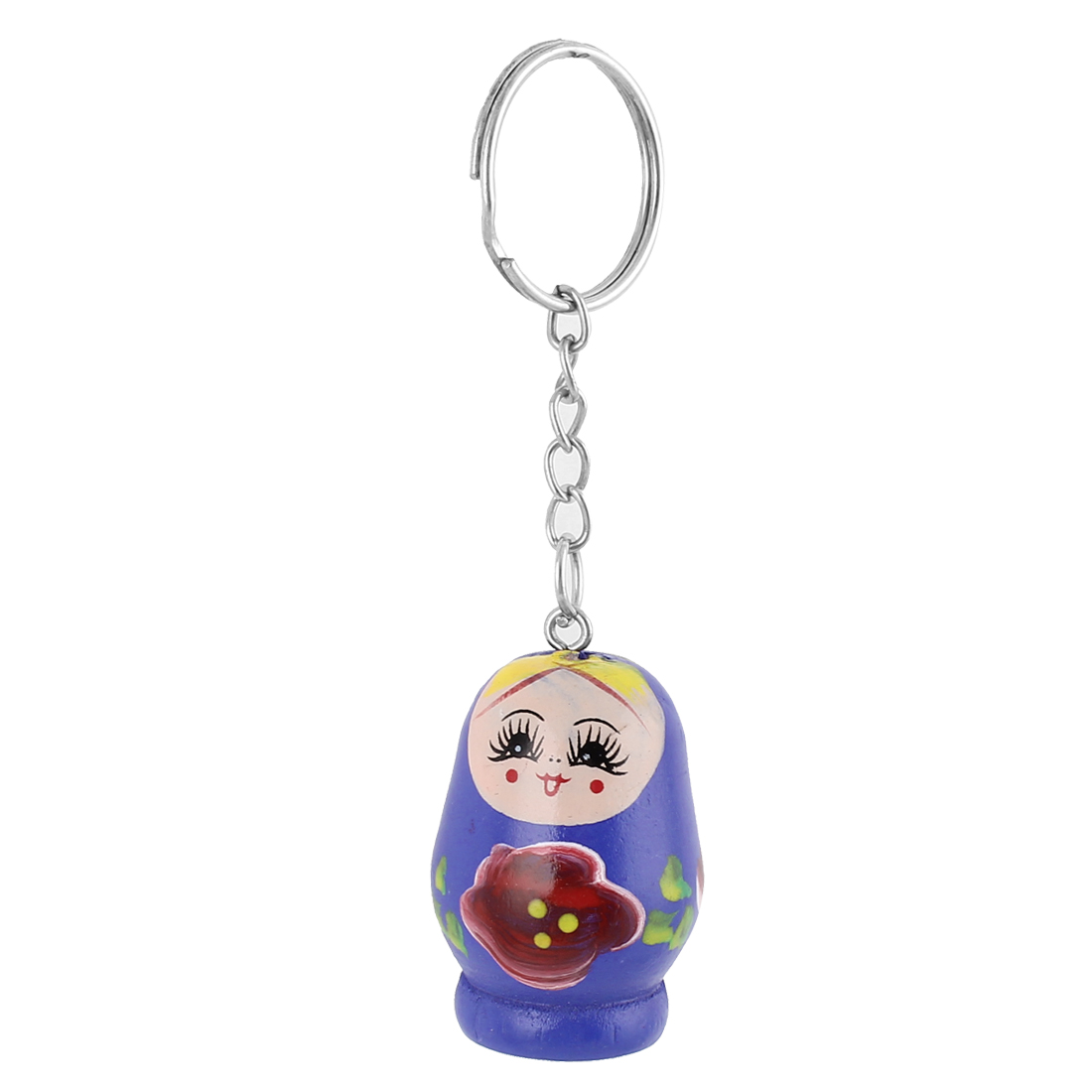 Wooden Matryoshka Style Painted Nesting Doll Key Holder Keychain Keyring Purple