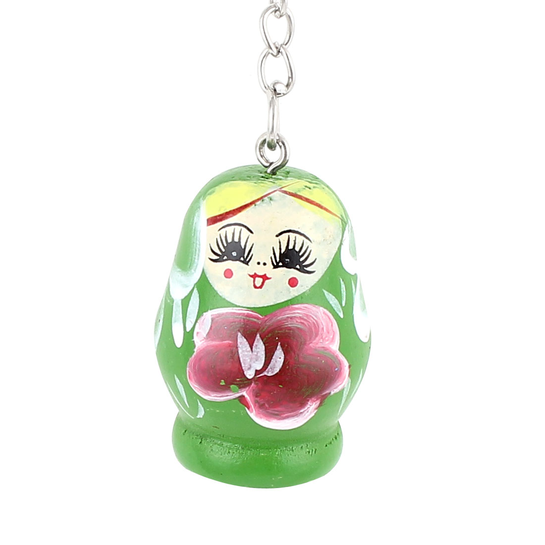 Wooden Matryoshka Style Nesting Doll Key Holder Pendant Keychain Keyring Green