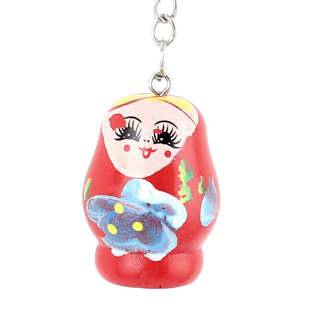 Wooden Matryoshka Style Painted Nesting Doll Key Holder Keychain Keyring Red
