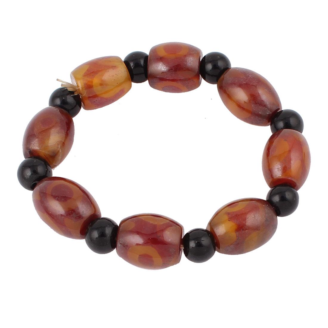Unisex Tibetan Style Jewelry DZI Beads Amulet Bangle Bracelet Black Brown