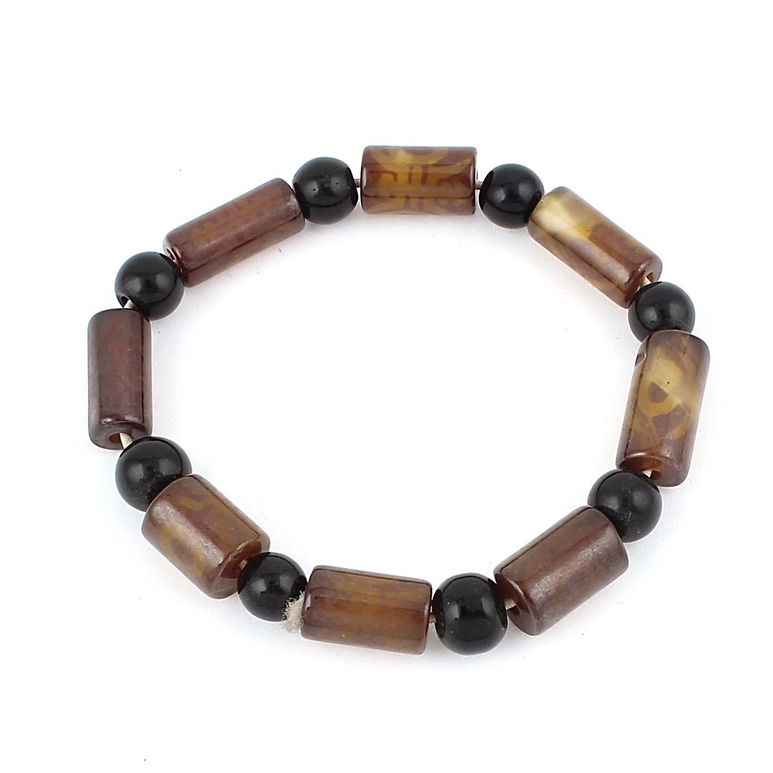 Tibetan Tibet Jewelry DZI Beads Amulet Lucky Bangle Bracelet Black Brown