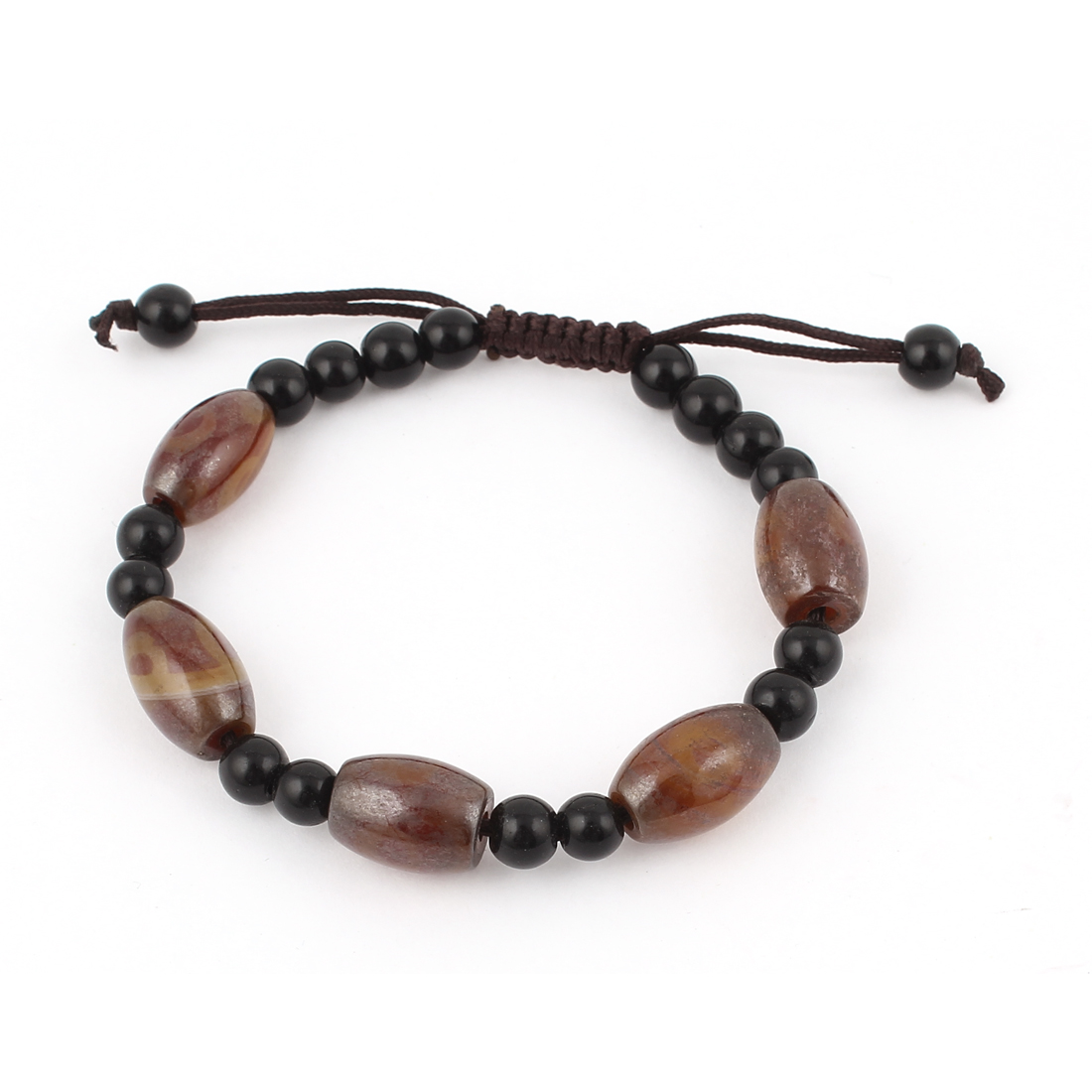 Unisex Tibetan DZI Beads Amulet Adjustable String Bangle Bracelet Black Brown