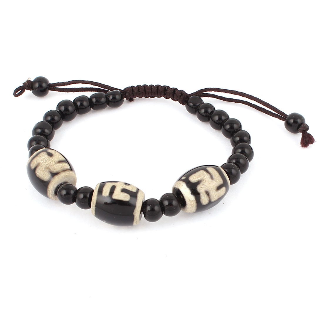 Unisex Tibetan Style DZI Beads Amulet Adjustable String Bangle Bracelet Black