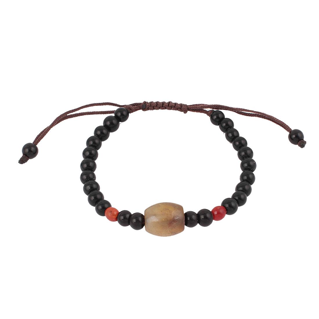 Tibetan Style DZI Beads Amulet Adjustable String Bangle Bracelet Black Brown