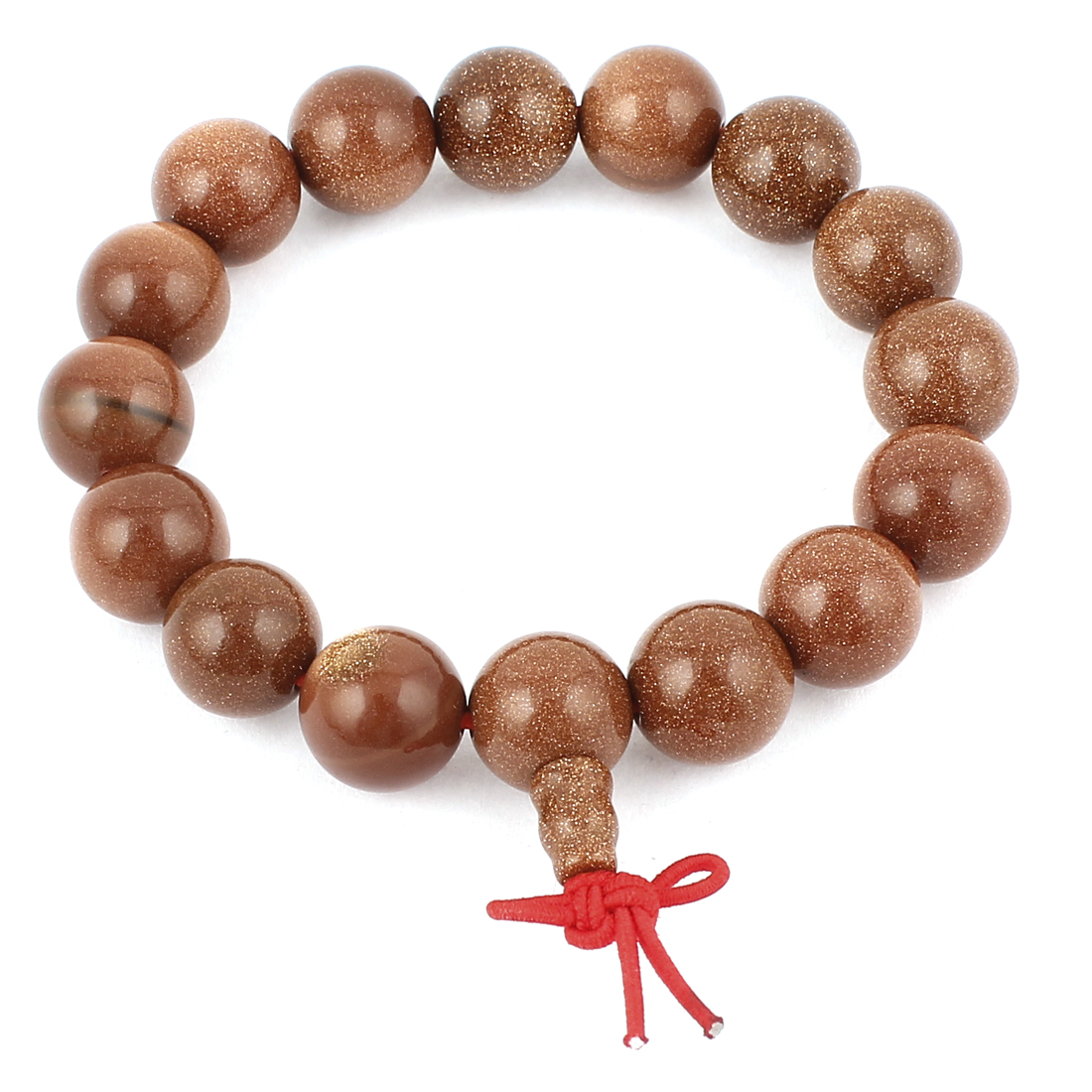 Tibetan Lady Jewelry Brown Goldstone Beaded Decor Elastic Wrist Bangle Bracelet