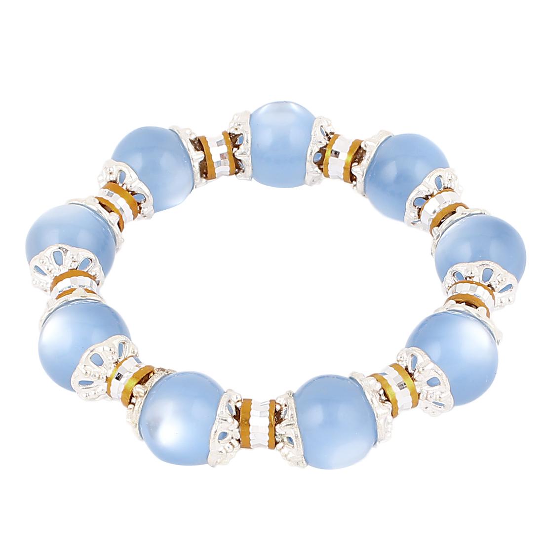 Women Imitation Pearls Beads Decor Elastic Wrist Bangle Bracelet Blue