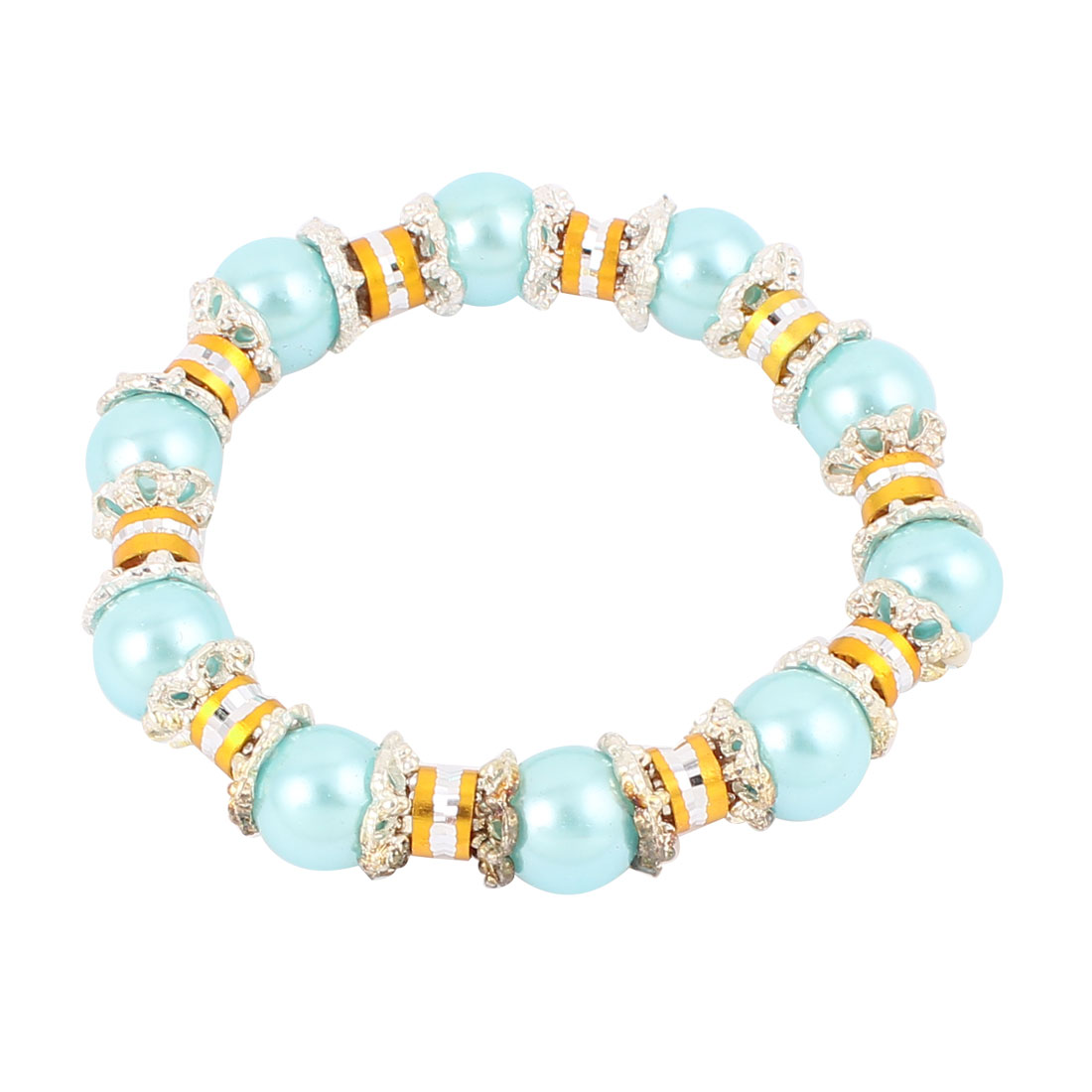 Lady Jewelry Imitation Pearls Beads Decor Elastic Wrist Bangle Bracelet Teal