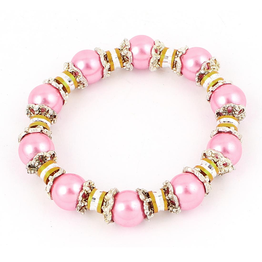 Lady Jewelry Faux Imitation Pearls Beads Decor Elastic Wrist Bangle Bracelet Pink