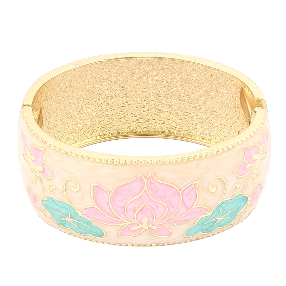 Lady Jewelry Flower Pattern Metal Hinge Wrist Enamel Bracelet Bangle Beige