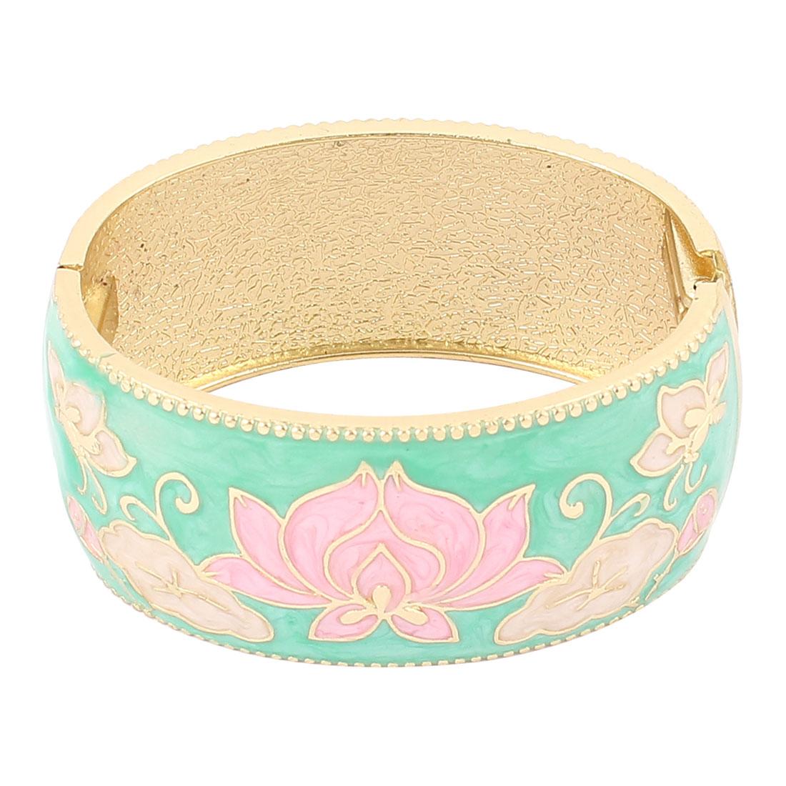 Lady Jewelry Flower Pattern Metal Hinge Wrist Enamel Bracelet Bangle Teal