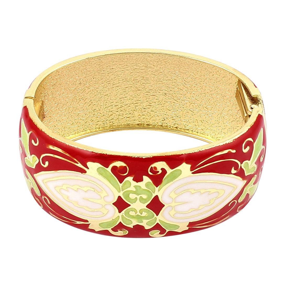 Lady Jewelry Floral Printed Metal Hinge Wrist Enamel Bracelet Bangle Red