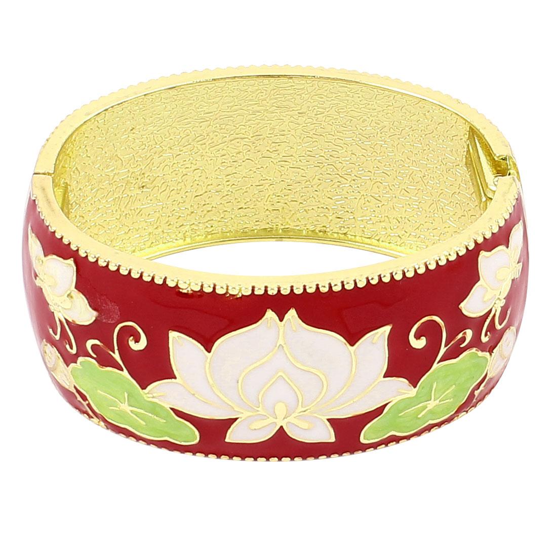 Lady Jewelry Flower Pattern Metal Hinge Wrist Enamel Bracelet Bangle Red
