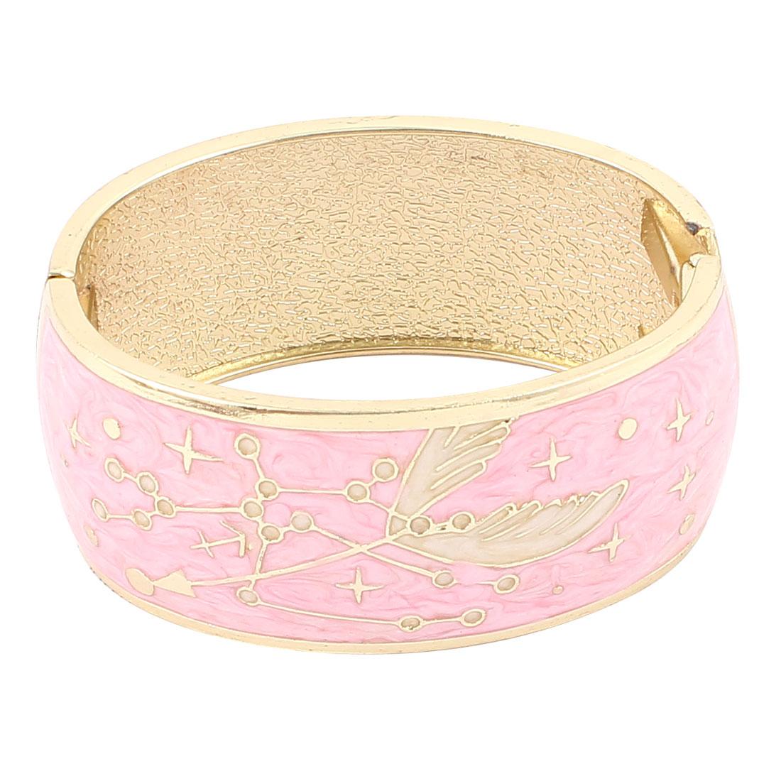 Lady Jewelry Wing Pattern Metal Hinge Wrist Enamel Bracelet Bangle Pink