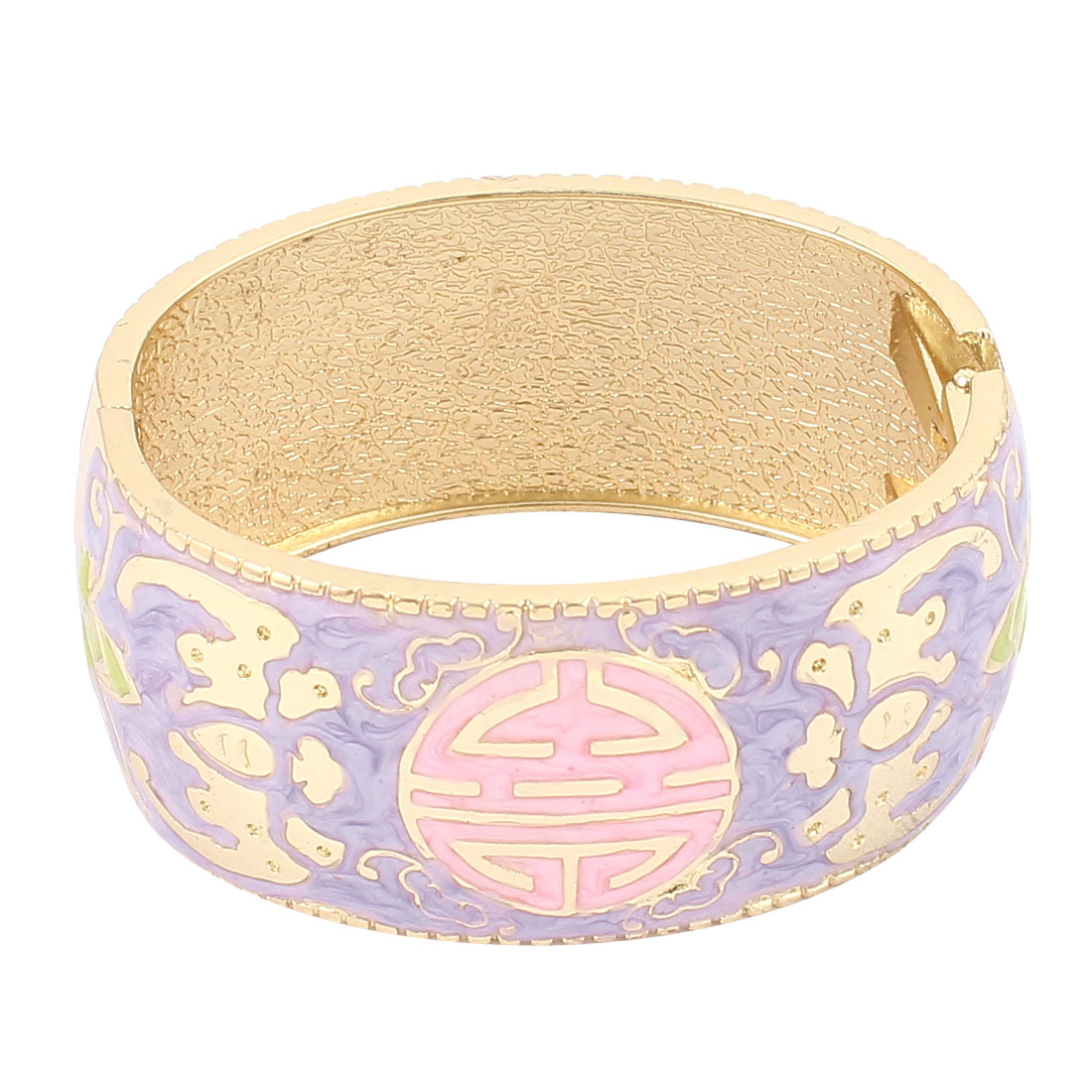 Lady Jewelry Floral Printed Metal Hinge Wrist Enamel Bracelet Bangle Purple