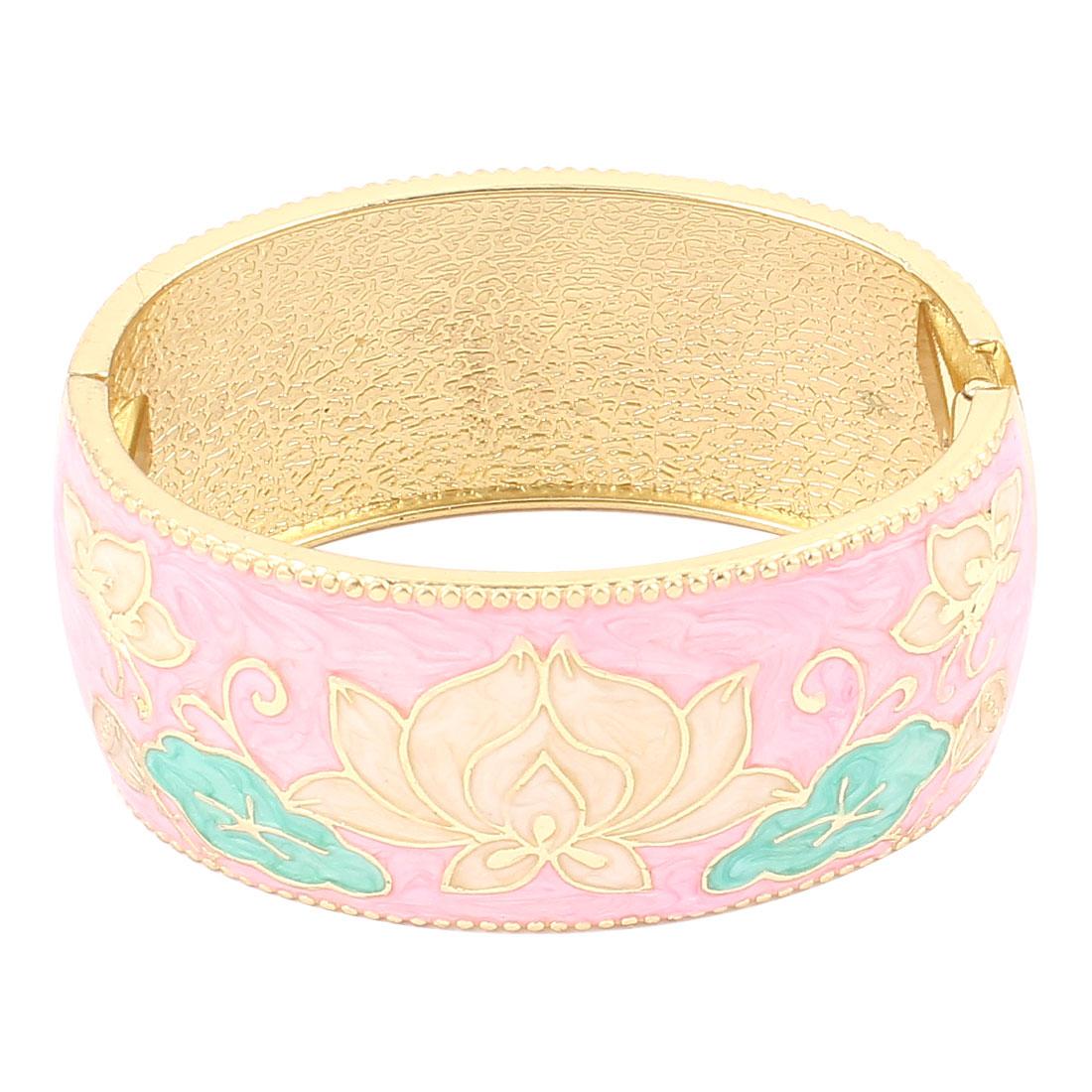 Lady Jewelry Flower Pattern Metal Hinge Wrist Enamel Bracelet Bangle Pink