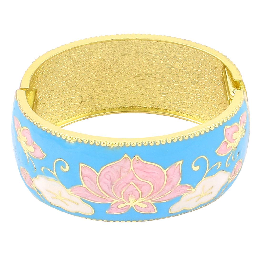 Lady Jewelry Flower Pattern Metal Hinge Wrist Enamel Bracelet Bangle Blue