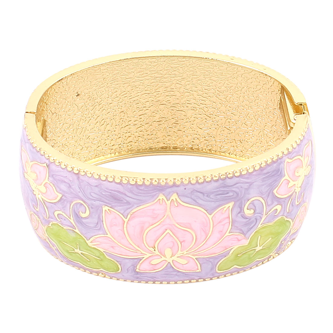 Lady Jewelry Flower Print Metal Hinge Wrist Enamel Bracelet Bangle Purple