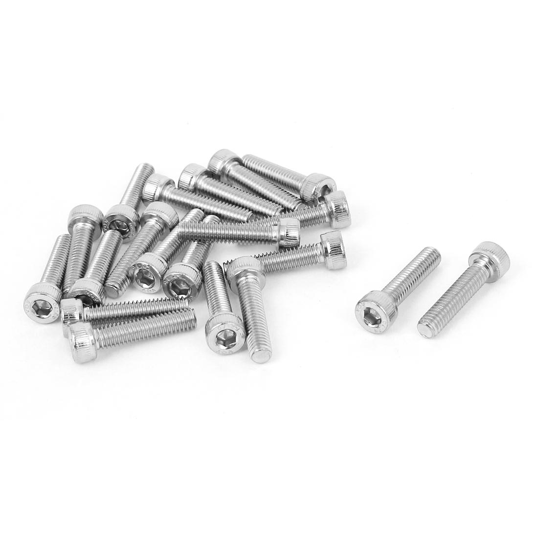 M4x18mm Stainless Steel Socket Cap Screws Hex Drive Keys 7mm Head Diameter 20pcs