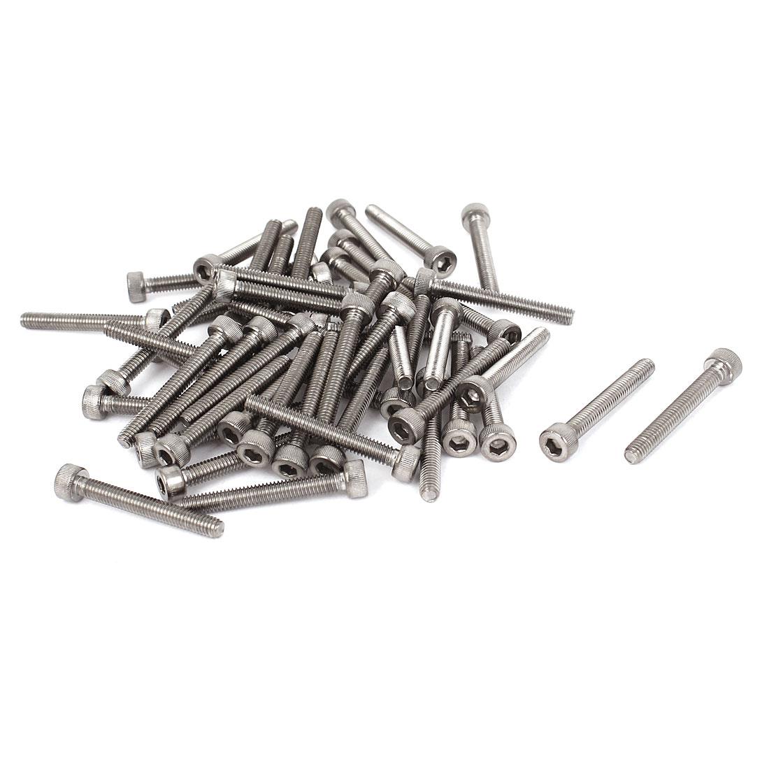 50 Pcs M4x30mm Stainless Steel Socket Head Cap Keys Machine Screws Bolts