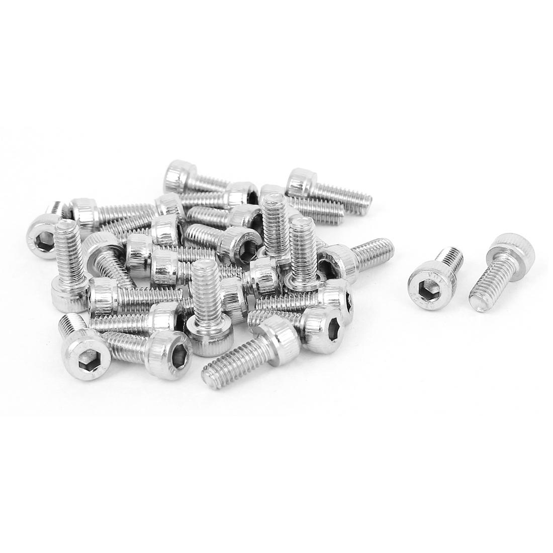 7mm Diameter M4x10mm Stainless Steel Socket Head Cap Key Machine Screws 30 Pcs