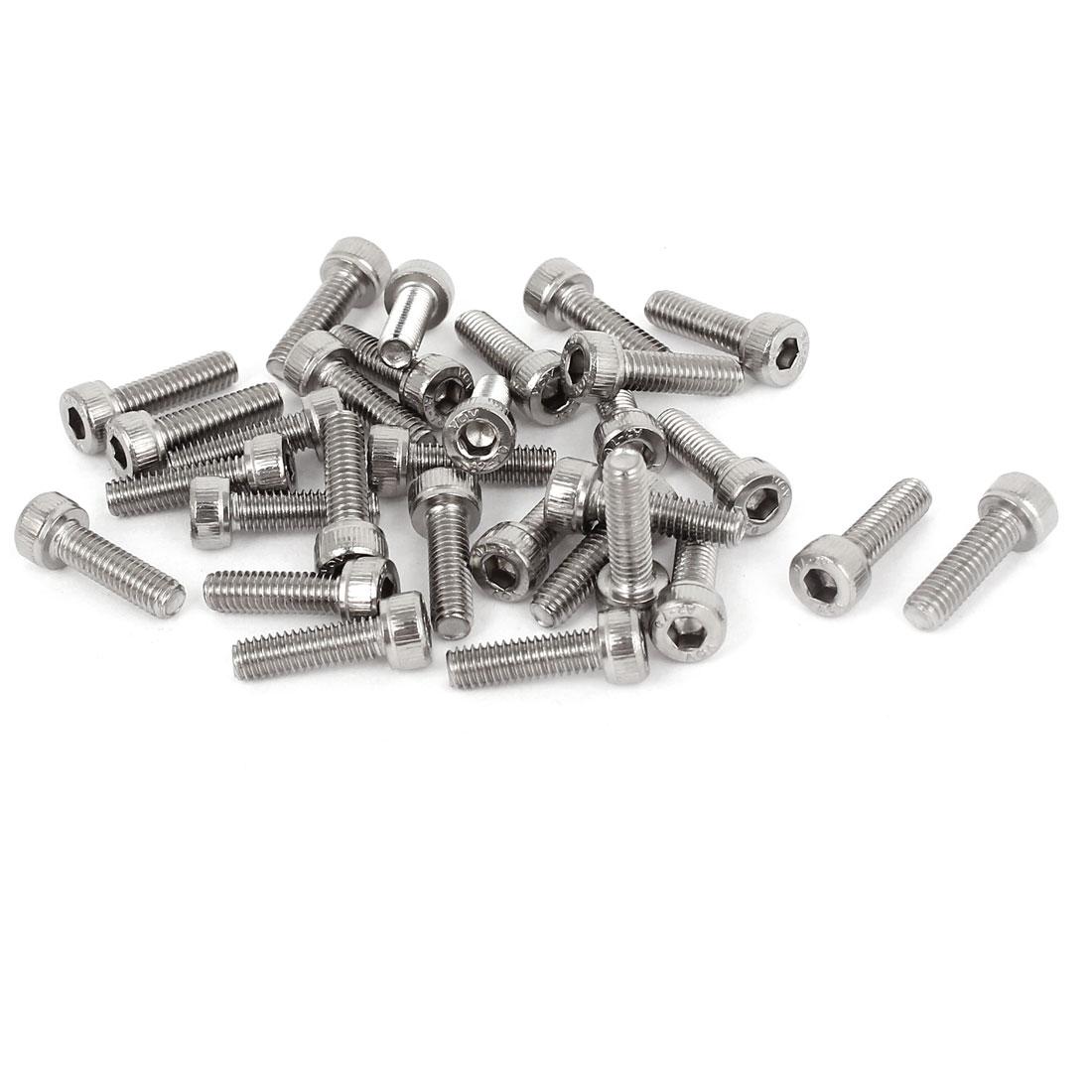 M4x14mm 0.7mm Pitch Stainless Steel Bolts Socket Cap Head Hex Key Screws 30pcs
