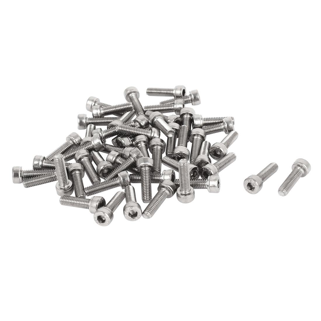 M4x14mm 0.7mm Pitch Stainless Steel Bolts Socket Cap Head Hex Key Screws 50pcs