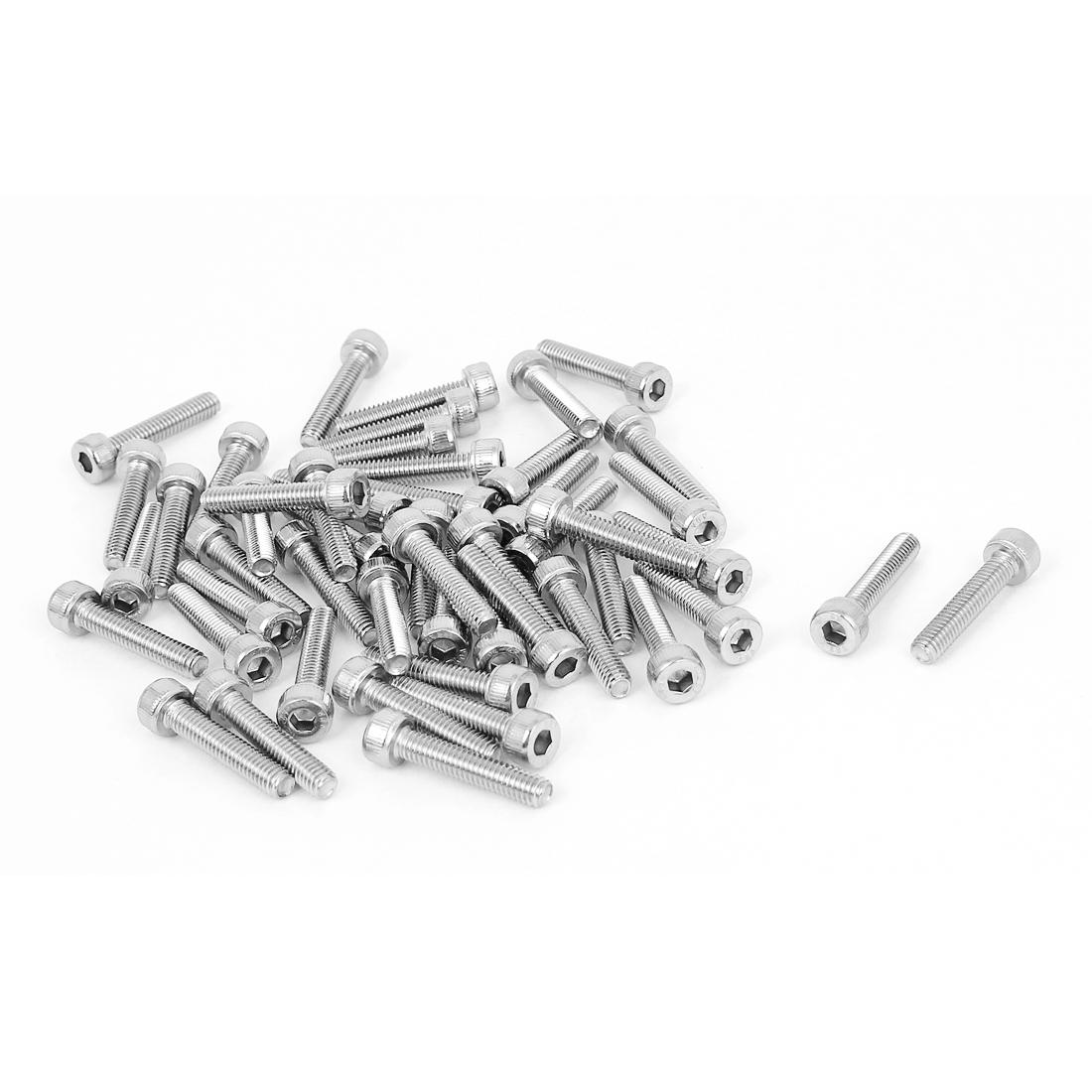 50 Pcs 3mm Hex Key Socket Head Stainless Steel Knurled Cap Screws Bolts M4x20mm